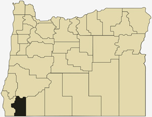 Oregon county map with Josephine County shaded