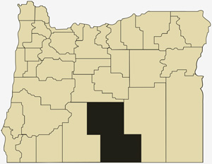 Oregon county map with Lake County shaded