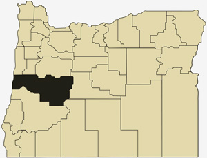Oregon county map with Lane County shaded