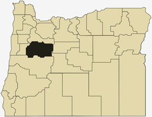 Oregon county map with Linn County shaded
