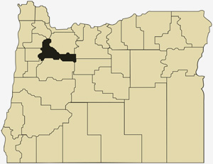 Oregon county map with Marion County shaded