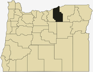 Oregon county map with Morrow County shaded