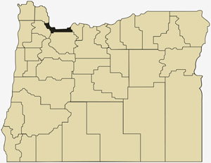 Oregon county map with Multnomah County shaded