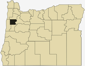 Oregon county map with Polk County shaded