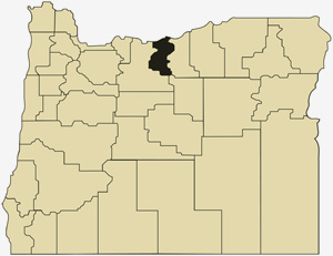 Oregon county map with Sherman County shaded
