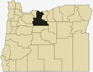 Oregon county map with Wasco County shaded