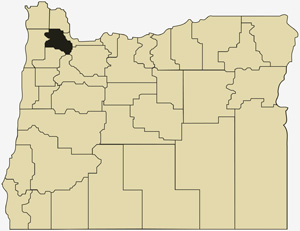 Oregon county map with Washington County shaded