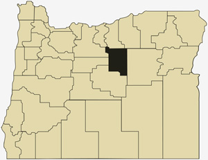 Oregon county map with Wheeler County shaded