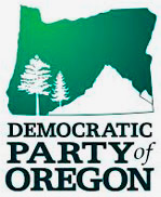 Democratic Party of Oregon logo includes state silhouette, trees and mountain