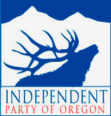 Independent Party of Oregon logo includes elk raising head to call and mountain the background
