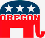 Oregon Repulican logo is a red, white and blue elephant with three stars
