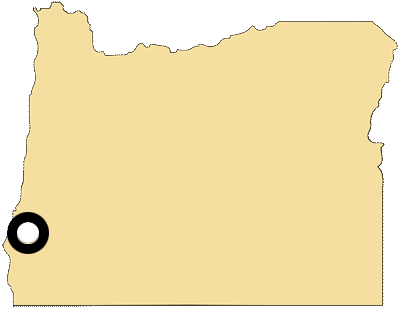 Oregon map with black and white circles documenting location of Coquille tribal government
