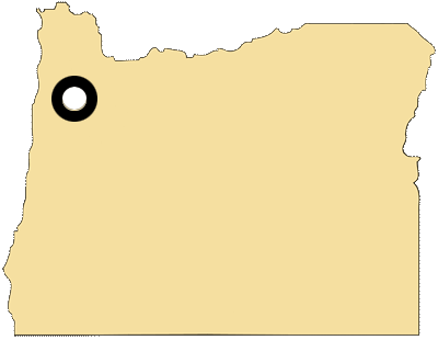 Oregon map with black and white circles documenting location of the confederated tribes of Grand Ronde
