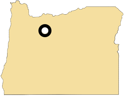 Oregon map with black and white circles documenting location of the confederated tribes of Warm Springs