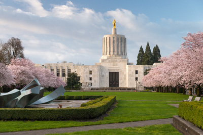 Capitol buildin in Salem shown with grass lawn & flowering cherry trees in front.
