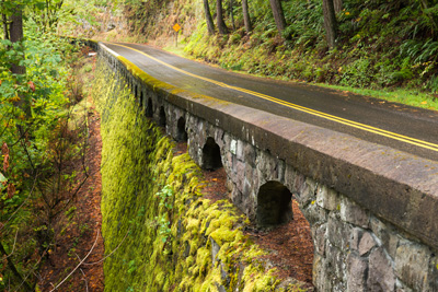 scenic highway with moss covered rock railing