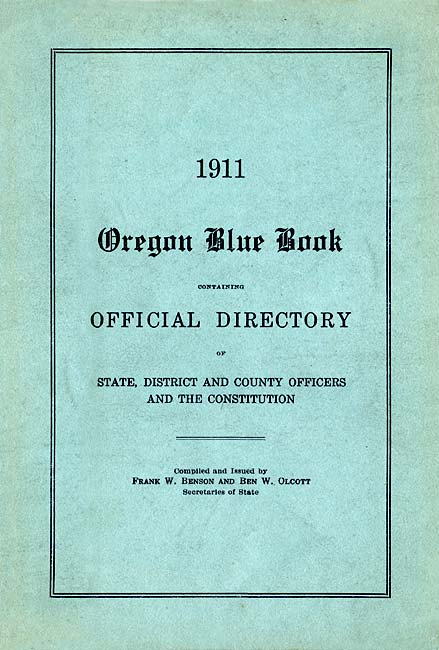 Cover of 1911 Oregon Blue Book