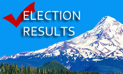 "Mt. Hood with trees in foreground and words ""Election Results"" and red check mark over top."