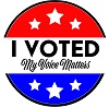 "Circle with red top, blue bottom white stars and the words ""I voted My Voice Matters"""