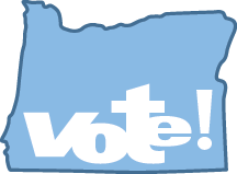 "Shape of state of oregon with the word ""Vote!"" in center."
